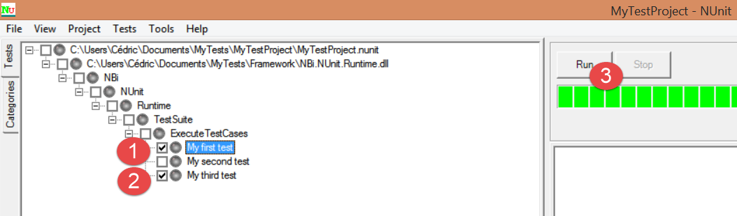 NUnit select tests and run them